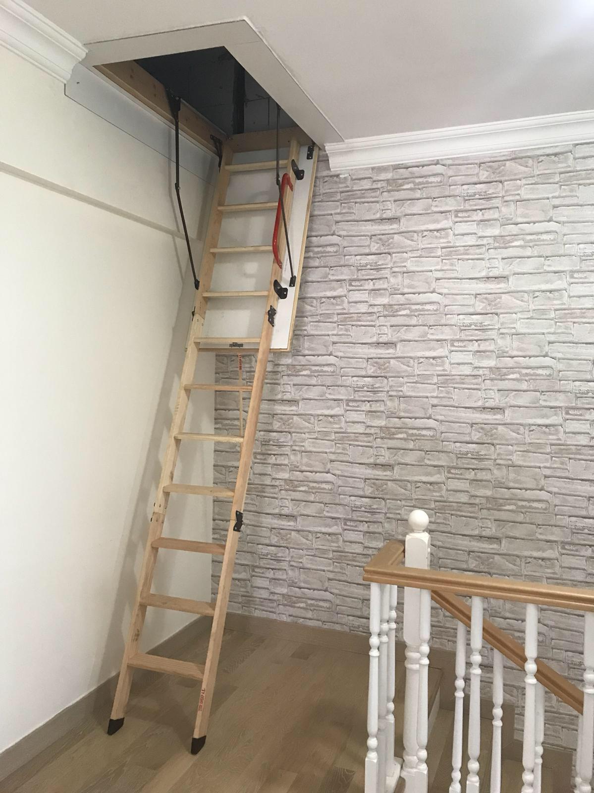 nukan katlanır ahşap çatı merdiveni